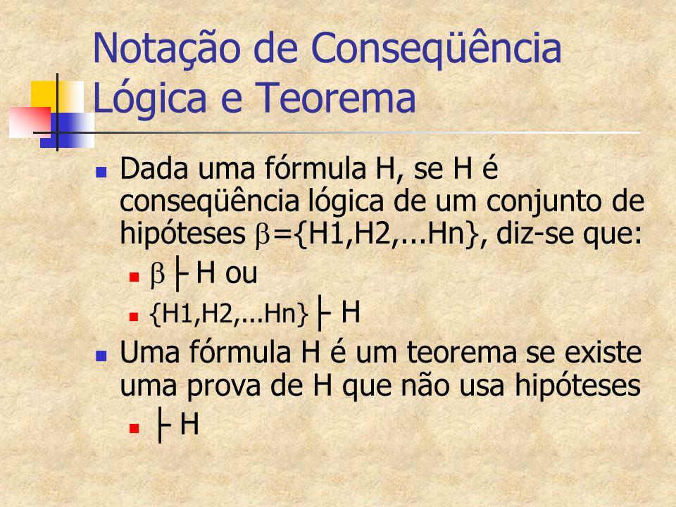 Notação de Conseqüência Lógica e Teorema Dada uma fórmula H, se H é conseqüência lógica de um conjunto de hipóteses  ={H1,H2,...Hn}, diz-se que:  ├