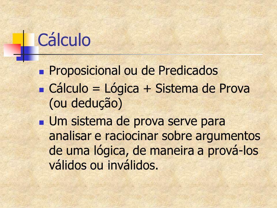 Cálculo Proposicional ou de Predicados Cálculo = Lógica + Sistema de Prova (ou dedução) Um sistema de prova serve para analisar e raciocinar sobre arg