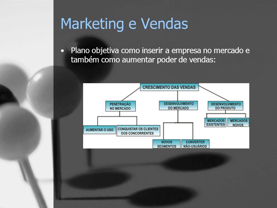 Marketing e Vendas Plano objetiva como inserir a empresa no mercado e também como aumentar poder de vendas: