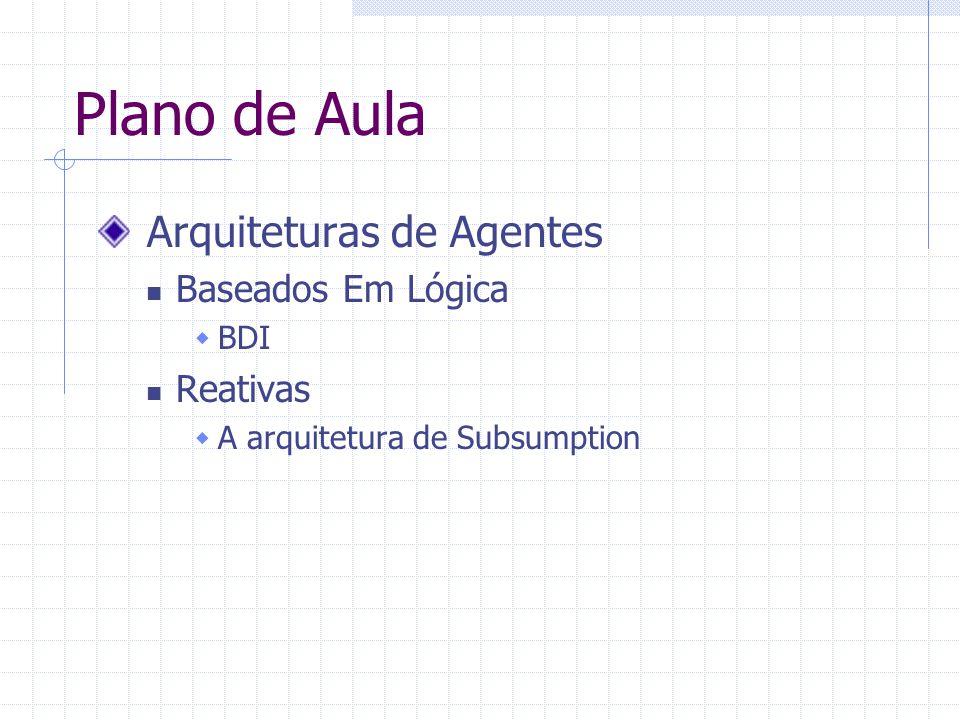 Plano de Aula Arquiteturas de Agentes Baseados Em Lógica  BDI Reativas  A arquitetura de Subsumption