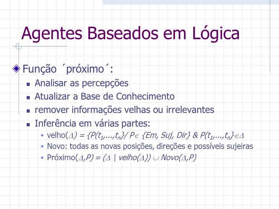 Agentes Baseados em Lógica Função ´próximo´: Analisar as percepções Atualizar a Base de Conhecimento remover informações velhas ou irrelevantes Inferência em várias partes:  velho(  ) = {P(t 1,...,t n }/ P  {Em, Suj, Dir} & P(t 1,...,t n }   Novo: todas as novas posições, direções e possíveis sujeiras  Próximo( ,P) = (  \ velho(  ))  Novo( ,P)
