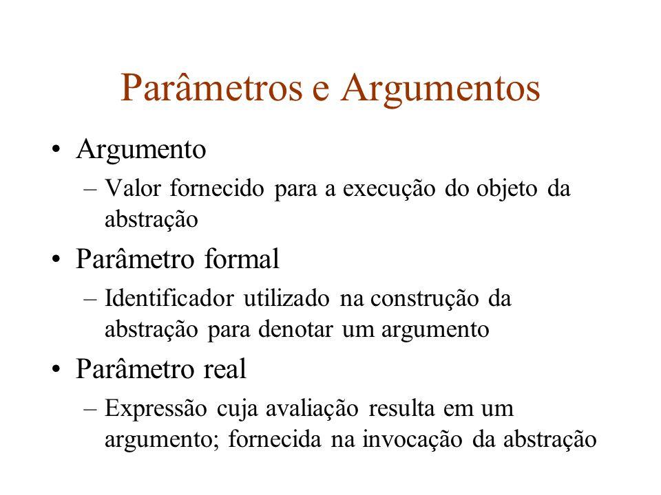 Parâmetros e Argumentos Argumento –Valor fornecido para a execução do objeto da abstração Parâmetro formal –Identificador utilizado na construção da abstração para denotar um argumento Parâmetro real –Expressão cuja avaliação resulta em um argumento; fornecida na invocação da abstração