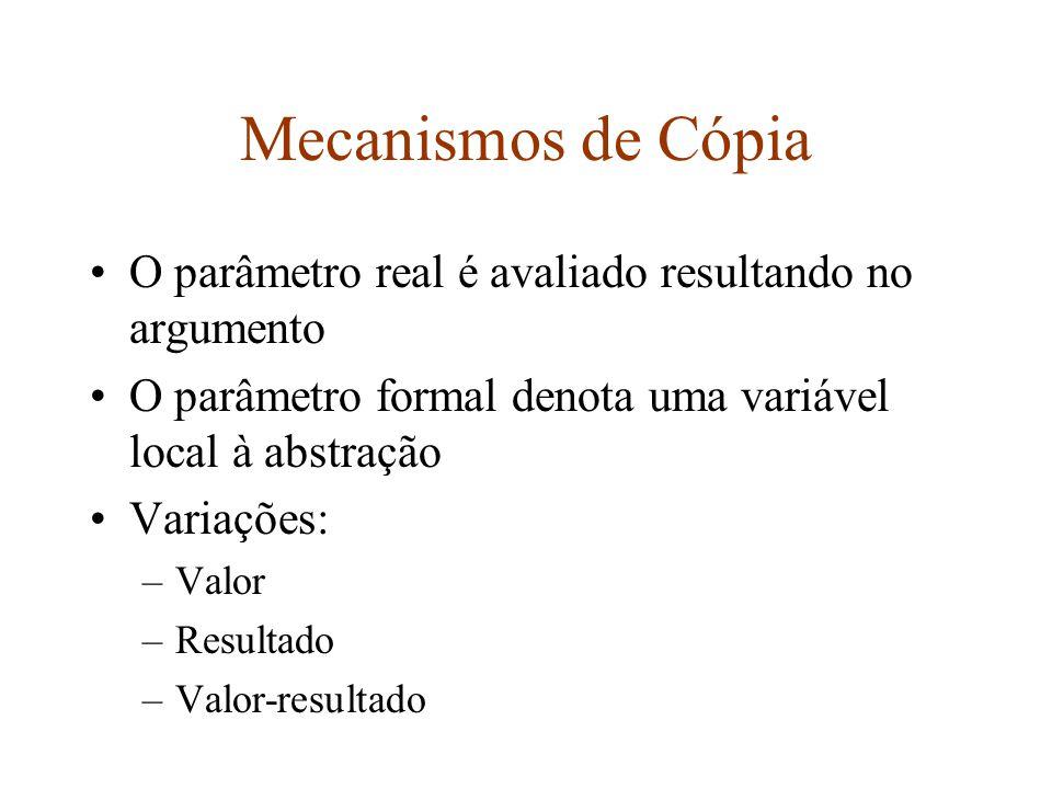 Mecanismos de Cópia O parâmetro real é avaliado resultando no argumento O parâmetro formal denota uma variável local à abstração Variações: –Valor –Resultado –Valor-resultado