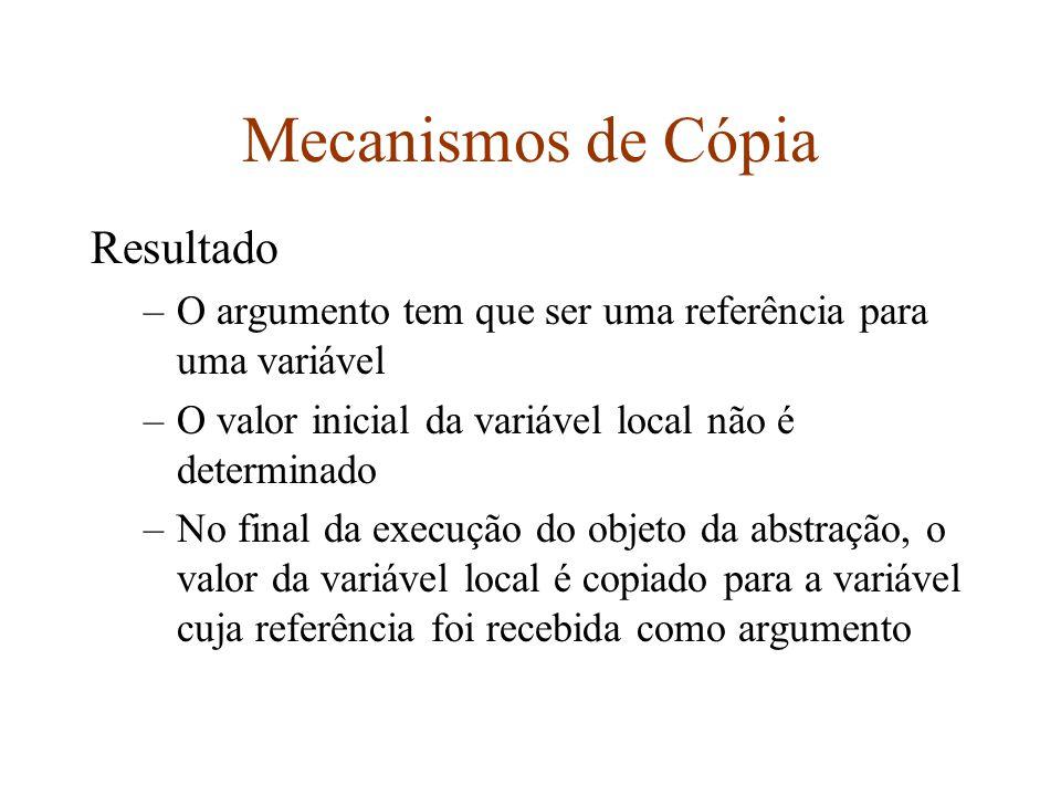 Mecanismos de Cópia Resultado –O argumento tem que ser uma referência para uma variável –O valor inicial da variável local não é determinado –No final da execução do objeto da abstração, o valor da variável local é copiado para a variável cuja referência foi recebida como argumento