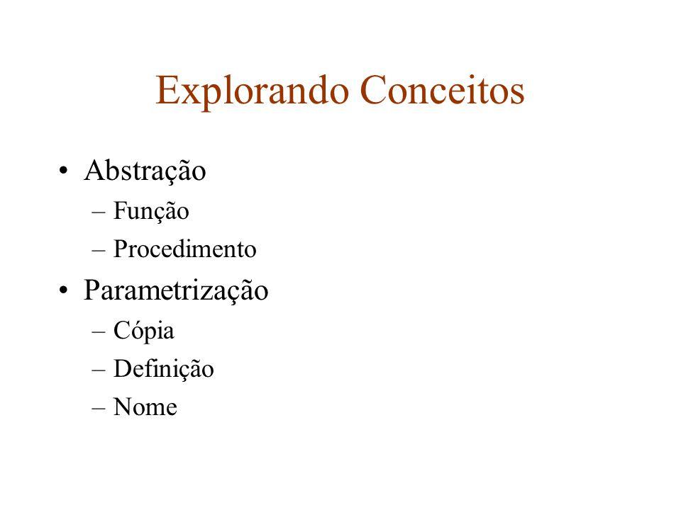 Explorando Conceitos Abstração –Função –Procedimento Parametrização –Cópia –Definição –Nome