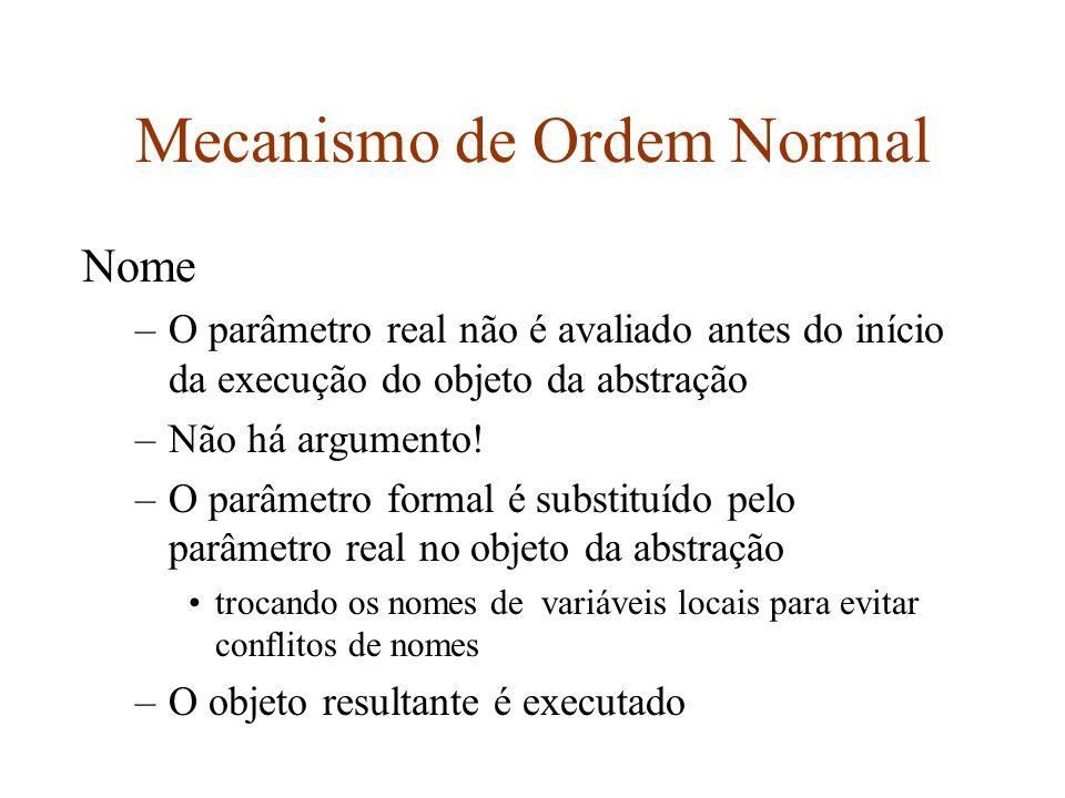 Mecanismo de Ordem Normal Nome –O parâmetro real não é avaliado antes do início da execução do objeto da abstração –Não há argumento.