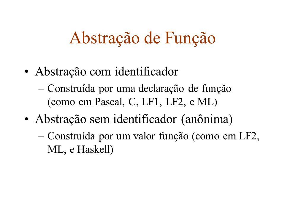 Abstração de Função Abstração com identificador –Construída por uma declaração de função (como em Pascal, C, LF1, LF2, e ML) Abstração sem identificador (anônima) –Construída por um valor função (como em LF2, ML, e Haskell)