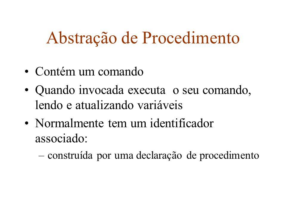 Abstração de Procedimento Contém um comando Quando invocada executa o seu comando, lendo e atualizando variáveis Normalmente tem um identificador associado: –construída por uma declaração de procedimento