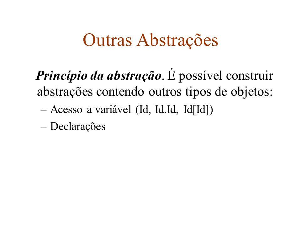 Outras Abstrações Princípio da abstração.