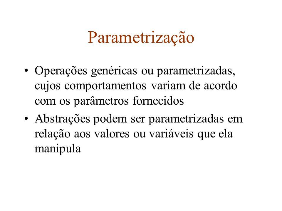 Parametrização Operações genéricas ou parametrizadas, cujos comportamentos variam de acordo com os parâmetros fornecidos Abstrações podem ser parametrizadas em relação aos valores ou variáveis que ela manipula