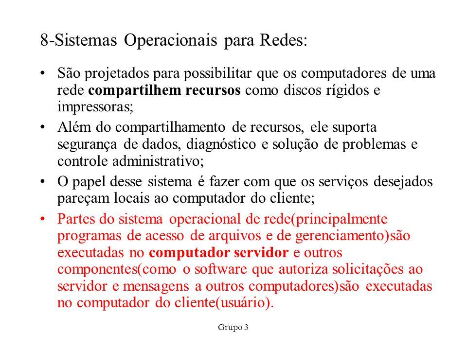Grupo 3 8-Sistemas Operacionais para Redes: São projetados para possibilitar que os computadores de uma rede compartilhem recursos como discos rígidos