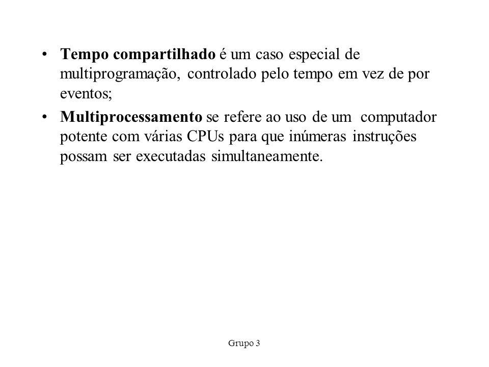 Grupo 3 Tempo compartilhado é um caso especial de multiprogramação, controlado pelo tempo em vez de por eventos; Multiprocessamento se refere ao uso d