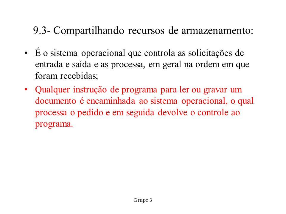 Grupo 3 9.3- Compartilhando recursos de armazenamento: É o sistema operacional que controla as solicitações de entrada e saída e as processa, em geral