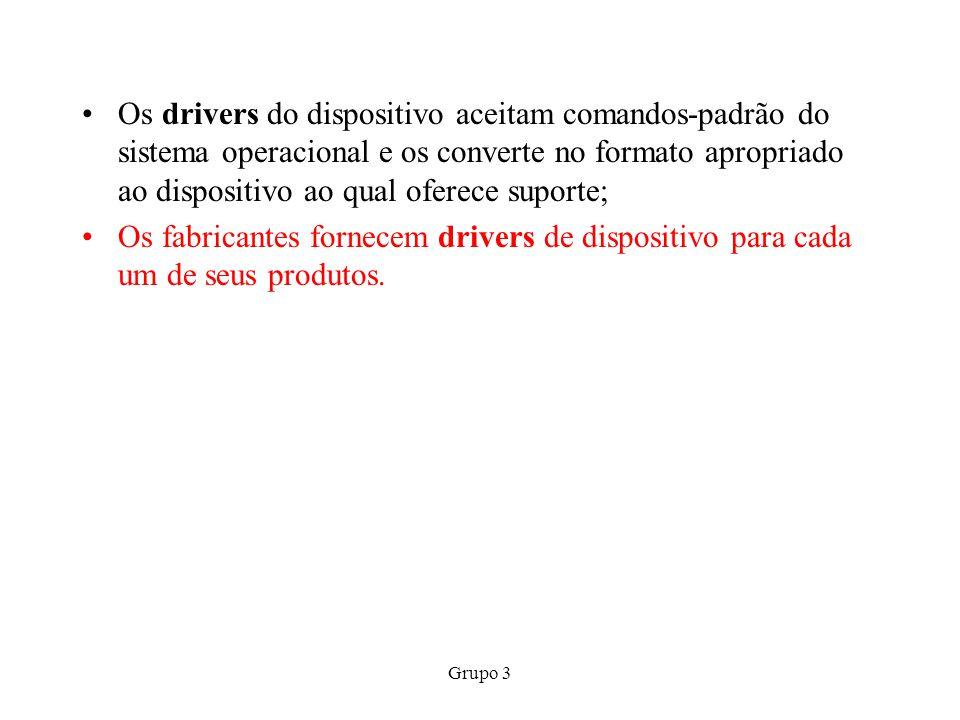 Grupo 3 Os drivers do dispositivo aceitam comandos-padrão do sistema operacional e os converte no formato apropriado ao dispositivo ao qual oferece su