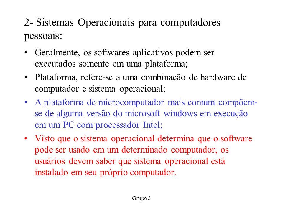 Grupo 3 3-Uma passada de olhos no MS-DOS: Introduzido no início da década de 1980, utiliza uma interface com o usuário de linha de comando; O c:\ que aparece na tela quando o computador é iniciado, refere-se à unidade de disco;o > é o prompt, um símbolo que indica que o sistema está à espera de alguma instrução; Para executar determinado programa do DOS, é necessário digitar um comando, um nome que chama um programa específico; Algumas das tarefas mais comuns que você pode realizar com comandos do DOS são relacionar os arquivos de um disco, copiar arquivos de um disco para outro e apagar arquivos de um disco.