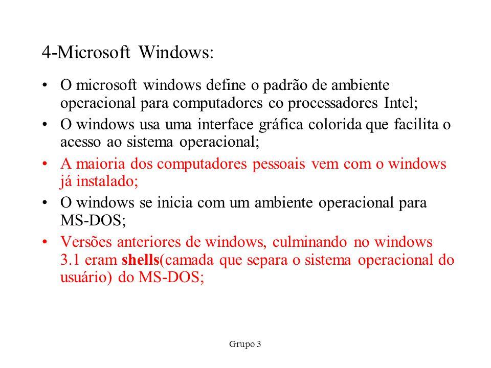 Grupo 3 7-LINUX: É um sistema operacional semelhante ao UNIX; Os usuários podem baixar o Linux gratuitamente, fazer qualquer alteração que desejarem e distribuir cópias de graça; O Linux usa uma interface de linha de comando; Muitos usuários instalam o Linux optando pela configuração de boot duplo(dual boot) com o windows; O Linux é extremamente estável e se o sistema operacional por ventura sofrer algum dano, reinstalar o Linux é uma tarefa muito mais simples do que reinstalar o windows; A maior desvantagem do Linux é a relativa escassez de aplicativos.