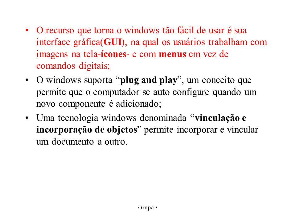 Grupo 3 O recurso que torna o windows tão fácil de usar é sua interface gráfica(GUI), na qual os usuários trabalham com imagens na tela-ícones- e com