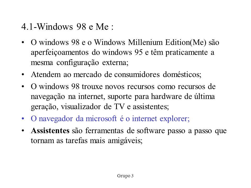 Grupo 3 4.1-Windows 98 e Me : O windows 98 e o Windows Millenium Edition(Me) são aperfeiçoamentos do windows 95 e têm praticamente a mesma configuraçã