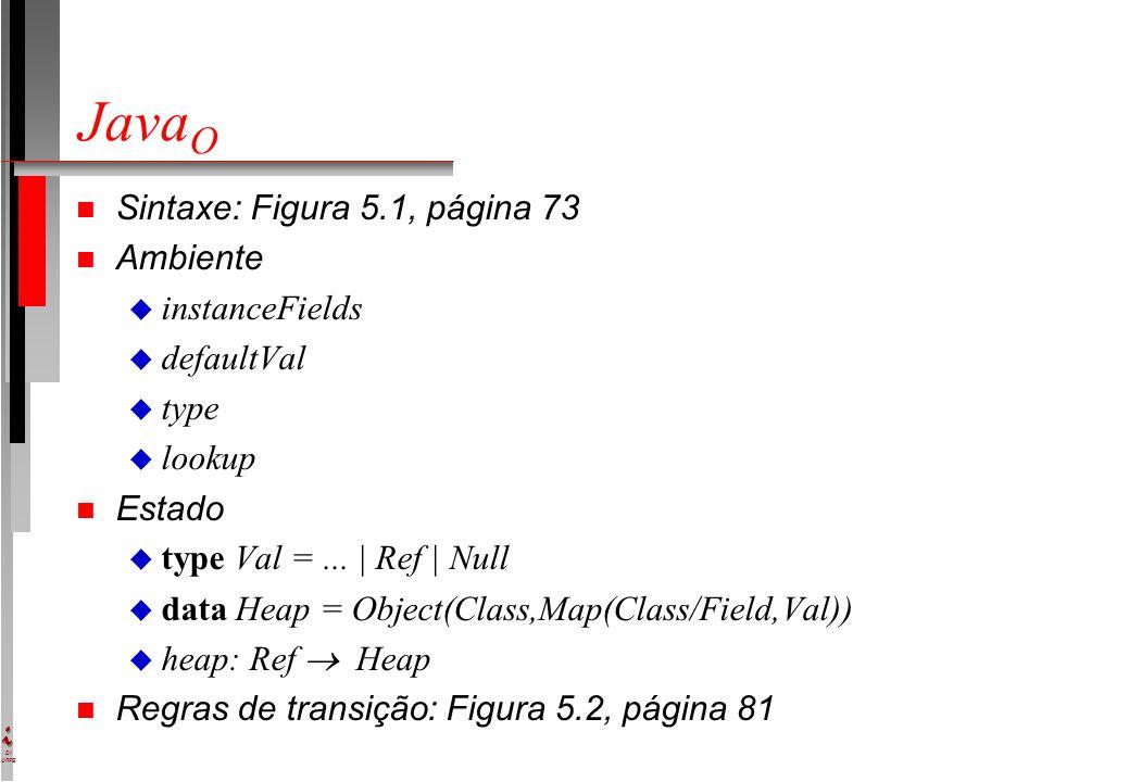 DI UFPE Java O n Sintaxe: Figura 5.1, página 73 n Ambiente u instanceFields u defaultVal u type u lookup n Estado u type Val =...