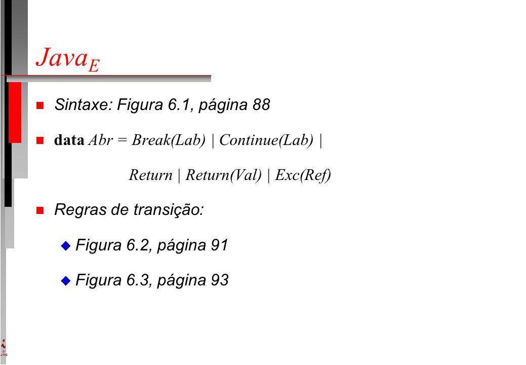 DI UFPE Java E n Sintaxe: Figura 6.1, página 88 n data Abr = Break(Lab) | Continue(Lab) | Return | Return(Val) | Exc(Ref) n Regras de transição: u Figura 6.2, página 91 u Figura 6.3, página 93
