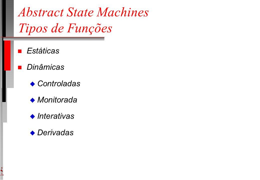 DI UFPE Abstract State Machines Tipos de Funções n Estáticas n Dinâmicas u Controladas u Monitorada u Interativas u Derivadas
