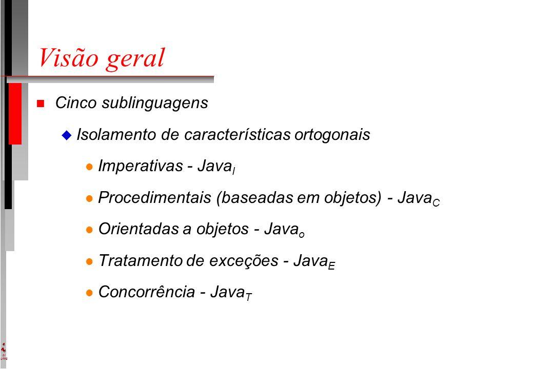 DI UFPE Visão geral n Cinco sublinguagens u Isolamento de características ortogonais l Imperativas - Java I l Procedimentais (baseadas em objetos) - Java C l Orientadas a objetos - Java o l Tratamento de exceções - Java E l Concorrência - Java T