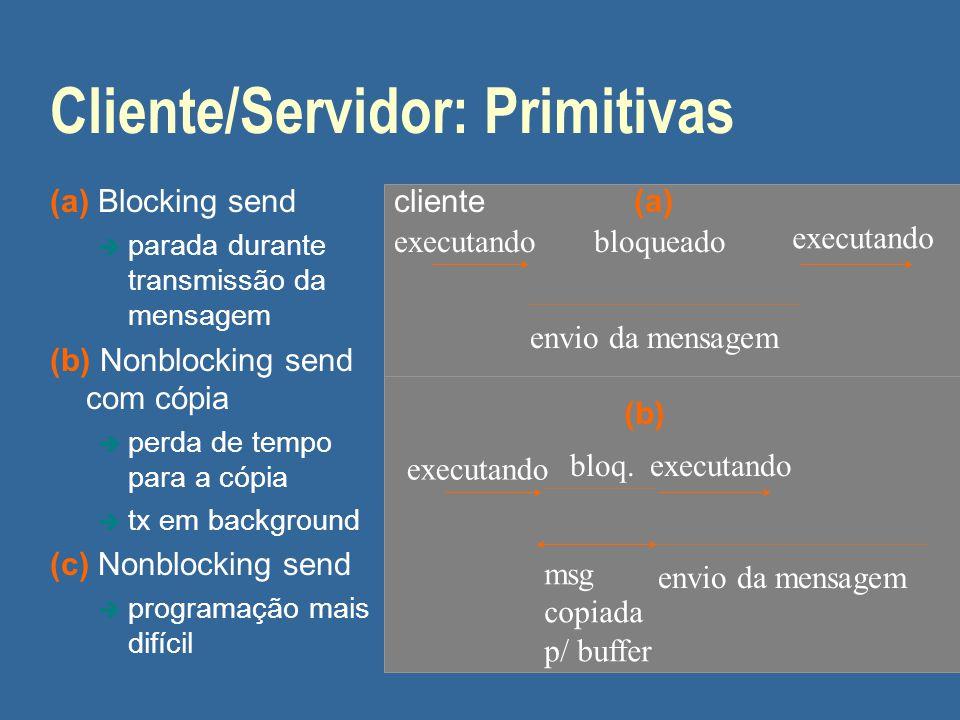 Cliente/Servidor: Primitivas (a) Blocking send è parada durante transmissão da mensagem (b) Nonblocking send com cópia è perda de tempo para a cópia è