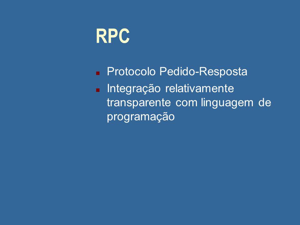 RPC n Protocolo Pedido-Resposta n Integração relativamente transparente com linguagem de programação