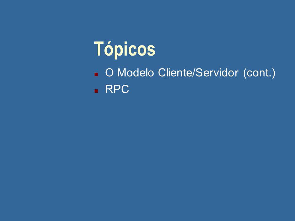 Tópicos n O Modelo Cliente/Servidor (cont.) n RPC