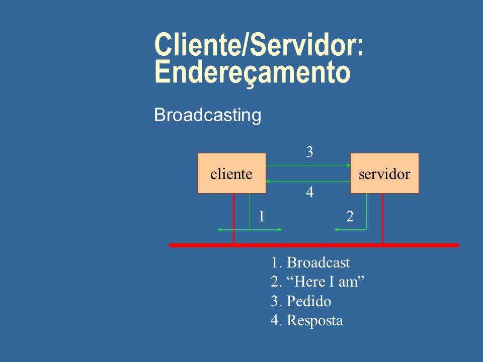 """Cliente/Servidor: Endereçamento Broadcasting clienteservidor 3 4 1. Broadcast 2. """"Here I am"""" 3. Pedido 4. Resposta 12"""