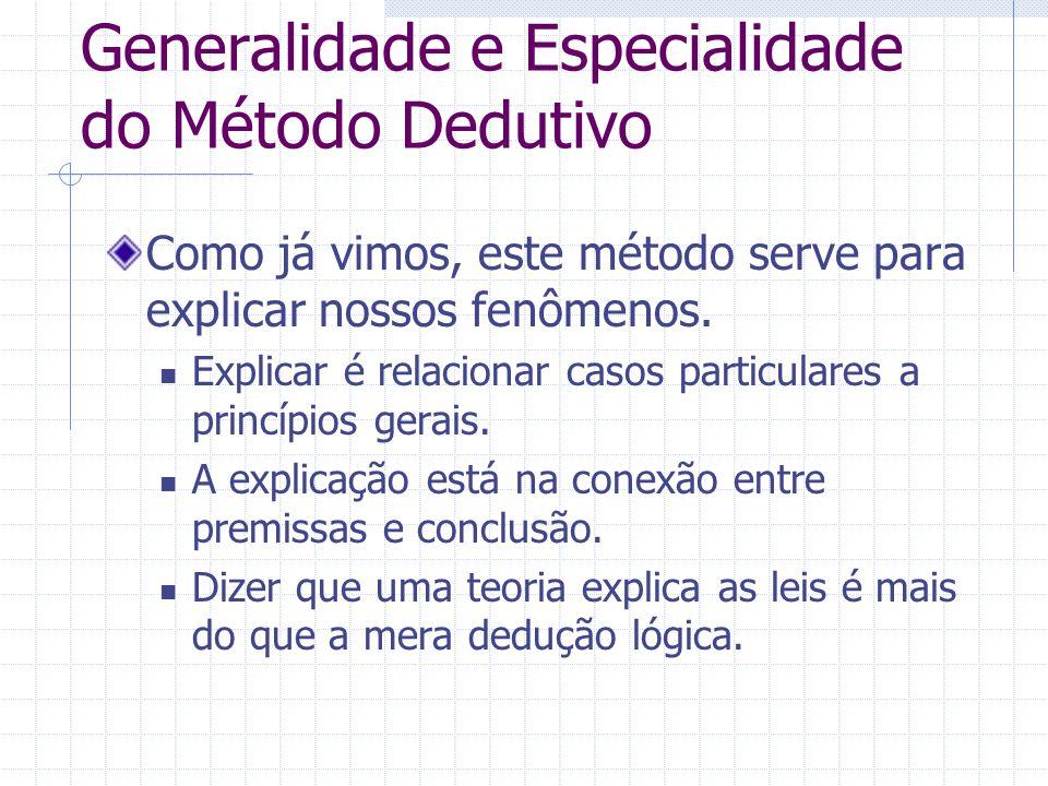 Generalidade e Especialidade do Método Dedutivo Como já vimos, este método serve para explicar nossos fenômenos. Explicar é relacionar casos particula