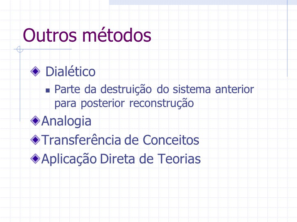 Outros métodos Dialético Parte da destruição do sistema anterior para posterior reconstrução Analogia Transferência de Conceitos Aplicação Direta de T