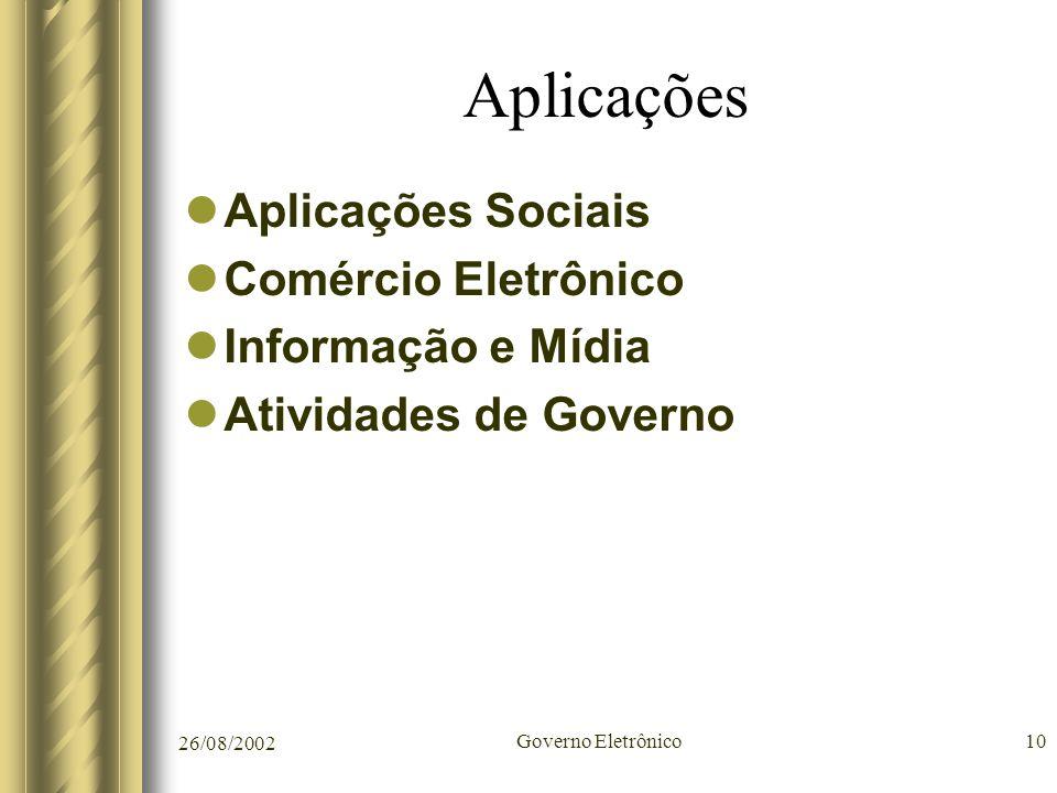 26/08/2002 Governo Eletrônico10 Aplicações Aplicações Sociais Comércio Eletrônico Informação e Mídia Atividades de Governo