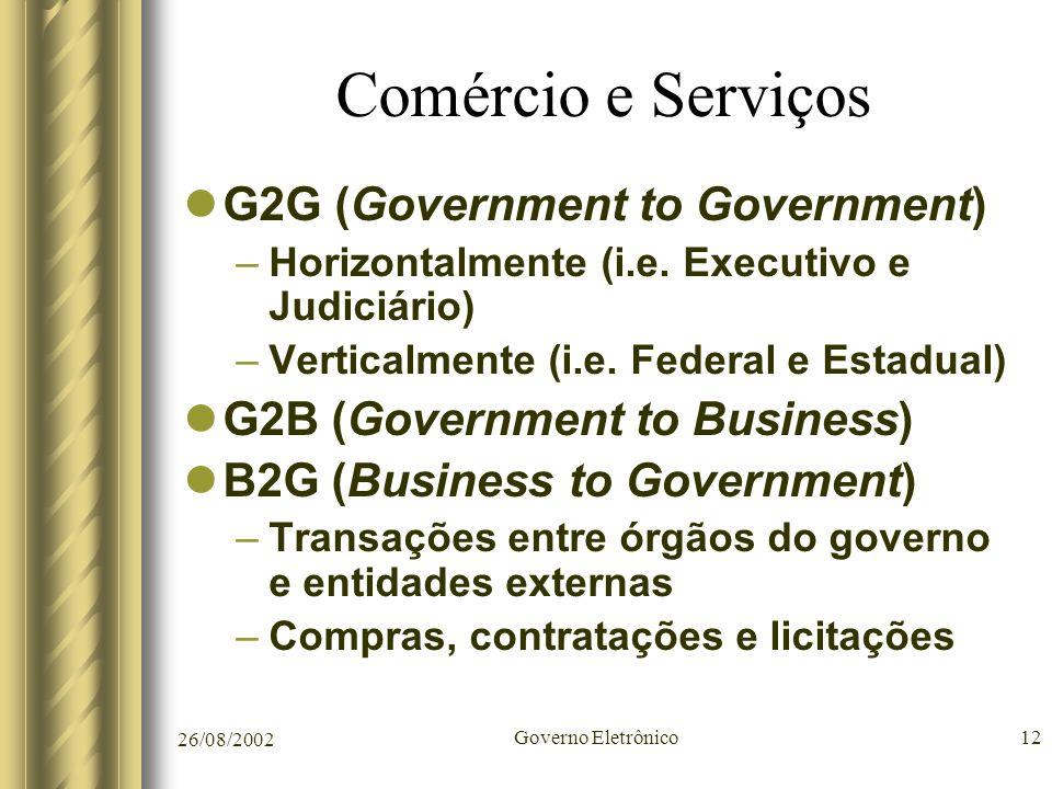 26/08/2002 Governo Eletrônico12 Comércio e Serviços G2G (Government to Government) –Horizontalmente (i.e. Executivo e Judiciário) –Verticalmente (i.e.