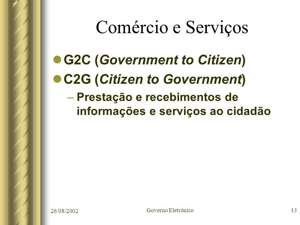 26/08/2002 Governo Eletrônico13 Comércio e Serviços G2C (Government to Citizen) C2G (Citizen to Government) –Prestação e recebimentos de informações e