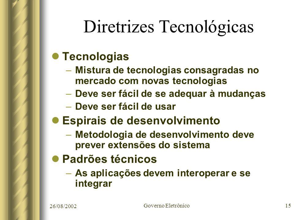 26/08/2002 Governo Eletrônico15 Diretrizes Tecnológicas Tecnologias –Mistura de tecnologias consagradas no mercado com novas tecnologias –Deve ser fác