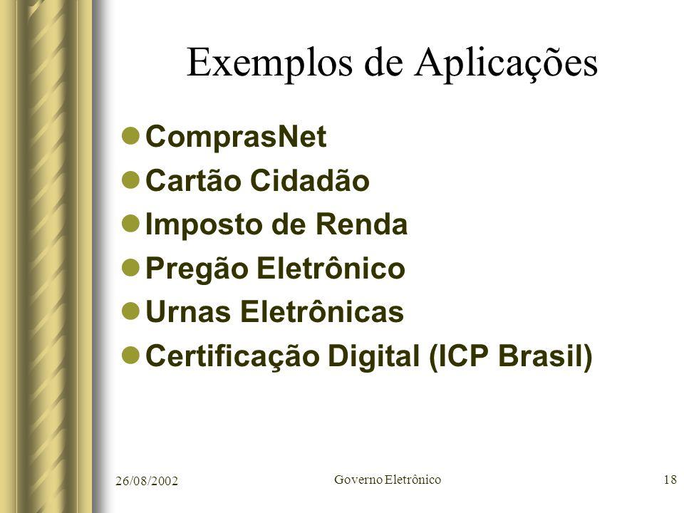 26/08/2002 Governo Eletrônico18 Exemplos de Aplicações ComprasNet Cartão Cidadão Imposto de Renda Pregão Eletrônico Urnas Eletrônicas Certificação Dig