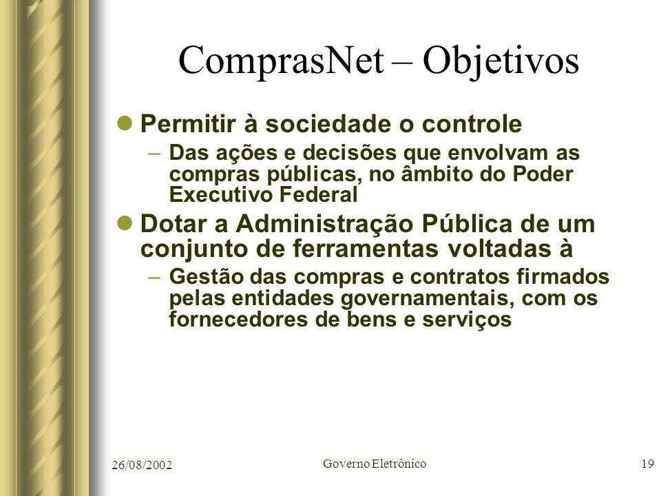 26/08/2002 Governo Eletrônico19 ComprasNet – Objetivos Permitir à sociedade o controle –Das ações e decisões que envolvam as compras públicas, no âmbi