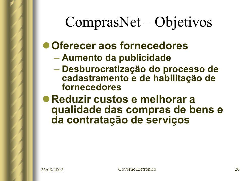 26/08/2002 Governo Eletrônico20 ComprasNet – Objetivos Oferecer aos fornecedores –Aumento da publicidade –Desburocratização do processo de cadastramen