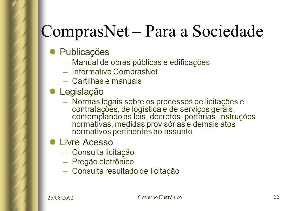26/08/2002 Governo Eletrônico22 ComprasNet – Para a Sociedade Publicações –Manual de obras públicas e edificações –Informativo ComprasNet –Cartilhas e