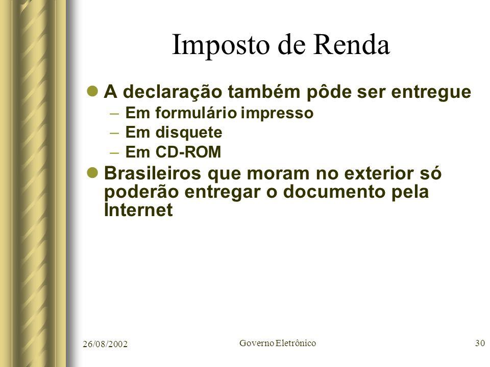 26/08/2002 Governo Eletrônico30 Imposto de Renda A declaração também pôde ser entregue –Em formulário impresso –Em disquete –Em CD-ROM Brasileiros que