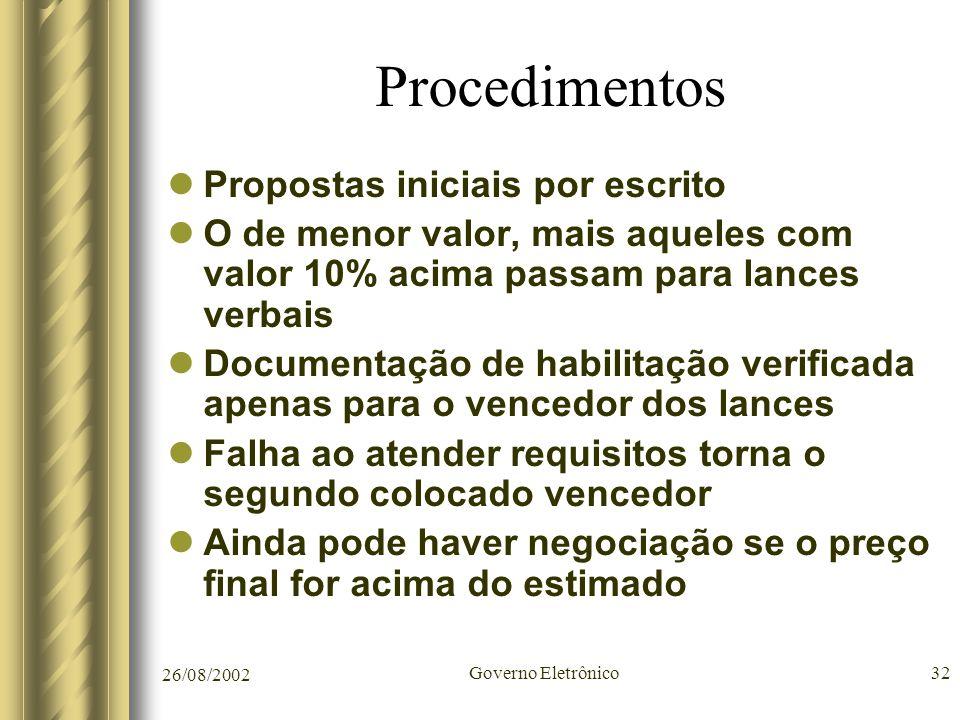 26/08/2002 Governo Eletrônico32 Procedimentos Propostas iniciais por escrito O de menor valor, mais aqueles com valor 10% acima passam para lances ver