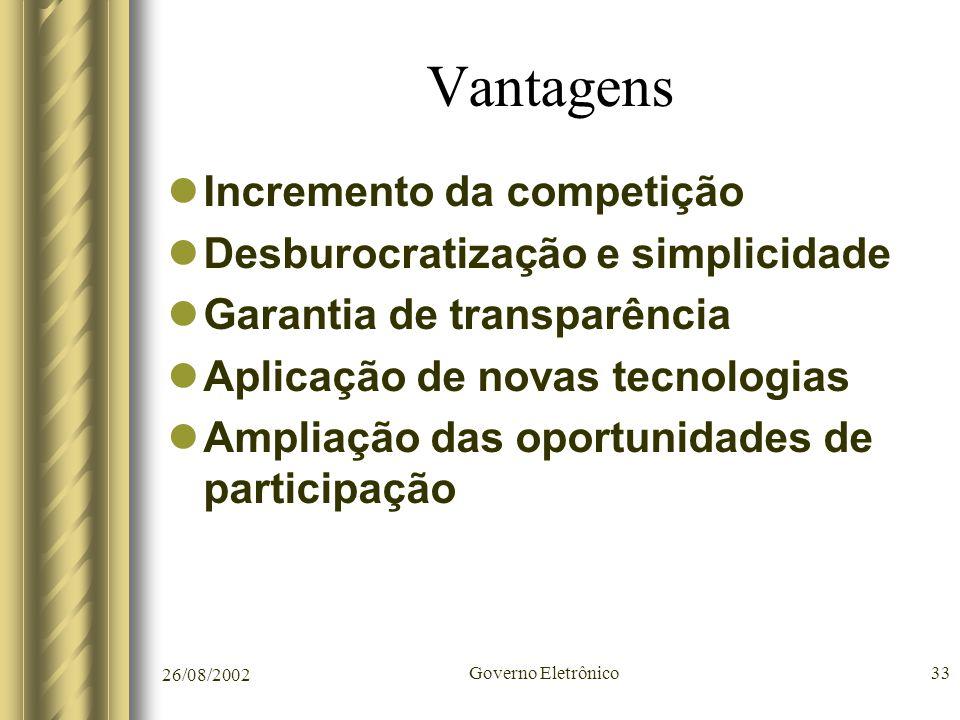 26/08/2002 Governo Eletrônico33 Vantagens Incremento da competição Desburocratização e simplicidade Garantia de transparência Aplicação de novas tecno