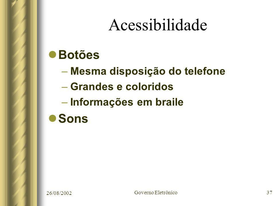 26/08/2002 Governo Eletrônico37 Acessibilidade Botões –Mesma disposição do telefone –Grandes e coloridos –Informações em braile Sons