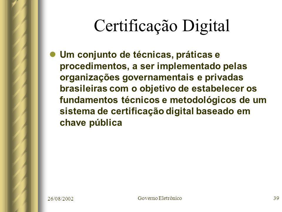 26/08/2002 Governo Eletrônico39 Certificação Digital Um conjunto de técnicas, práticas e procedimentos, a ser implementado pelas organizações governam