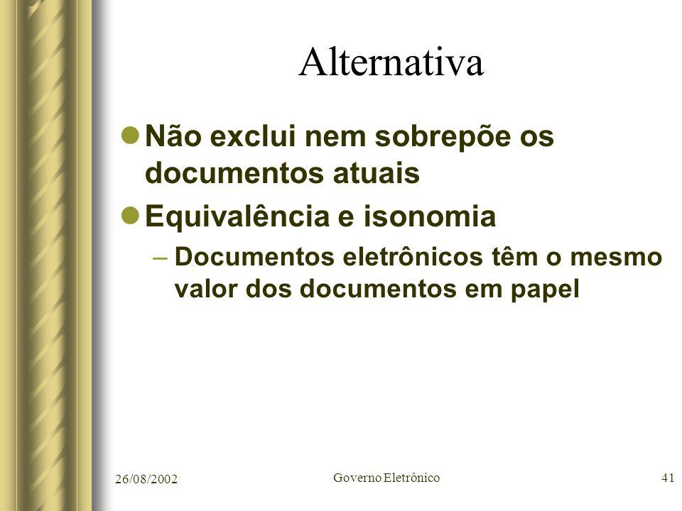 26/08/2002 Governo Eletrônico41 Alternativa Não exclui nem sobrepõe os documentos atuais Equivalência e isonomia –Documentos eletrônicos têm o mesmo v