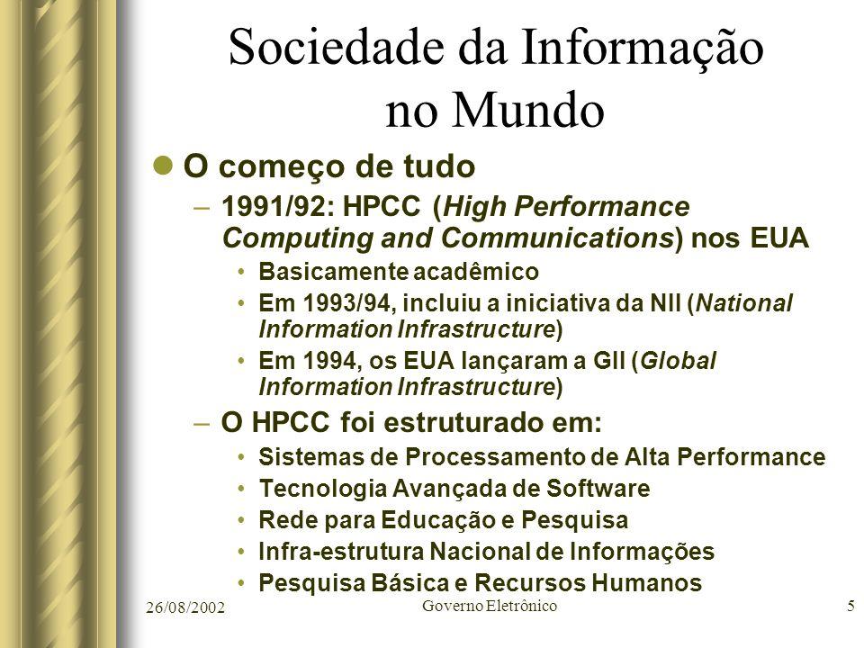26/08/2002 Governo Eletrônico5 Sociedade da Informação no Mundo O começo de tudo –1991/92: HPCC (High Performance Computing and Communications) nos EU