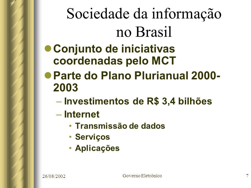 26/08/2002 Governo Eletrônico7 Sociedade da informação no Brasil Conjunto de iniciativas coordenadas pelo MCT Parte do Plano Plurianual 2000- 2003 –In