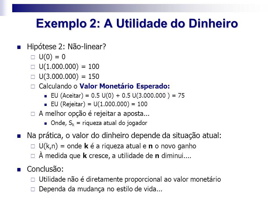 Exemplo 2: A Utilidade do Dinheiro Hipótese 2: Não-linear?  U(0) = 0  U(1.000.000) = 100  U(3.000.000) = 150  Calculando o Valor Monetário Esperad