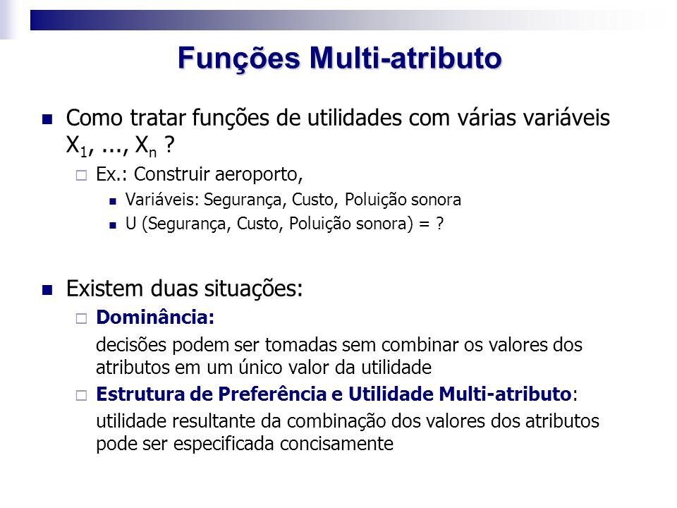 Como tratar funções de utilidades com várias variáveis X 1,..., X n ?  Ex.: Construir aeroporto, Variáveis: Segurança, Custo, Poluição sonora U (Segu